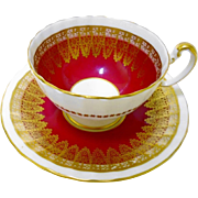 Aynsley Golden lace Red tea cup and saucer