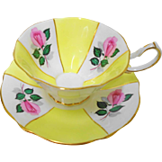 Queen Anne Pink rose yellow panel tea cup and saucer