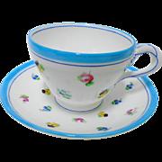 Antique Minton twist handle turquoise teacup set