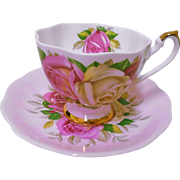 Queen Anne Lady Sylvia roses PINK tea cup and saucer
