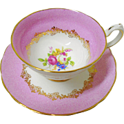 Grosvenor rose bouquet mottle pink tea cup and saucer