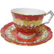 Aynsley Gold Sash Scroll orange tea cup and saucer