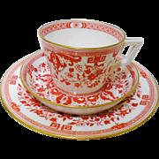 Antique Minton Rustic Terracotta Scroll teacup trio