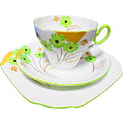 Shelley Cambridge Painted lime green flower teacup trio