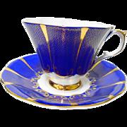 Queen Anne Royal blue shimmering gold teacup set