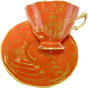 Hammersley GOLD Pagoda Orange tea cup and saucer