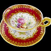 Paragon fruit & rose gold red tea cup and saucer