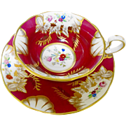 Radfords majestic red floral gold tea cup and saucer