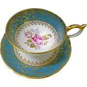 Aynsley Pink Rose Turquoise TEAL athens tea cup and saucer