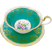 Aynsley rose center EMERALD teal Green Tea cup and saucer