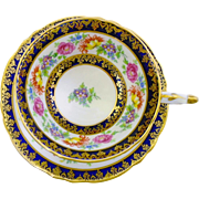 Paragon spring flower chintz Cobalt tea cup and saucer