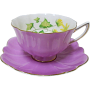 Shelley Atholl Lilac mauve Celandine tea cup and saucer