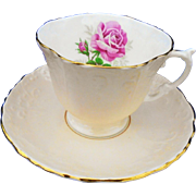 Aynsley texture pastel blush peach Tea cup and saucer, large pink rose teacup