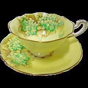 Paragon Hydrangea rainbow yellow tea cup and saucer