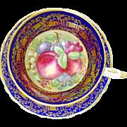 Paragon Golden Bell FRUIT Cobalt tea cup and saucer