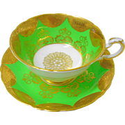 Paragon fan gold etch lime green tea cup and saucer