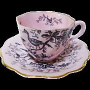 Coalport Cairo bird pastel pink tea cup and saucer
