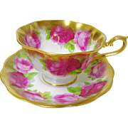 Royal Albert avon heavy gold Roses tea cup and saucer