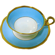 Royal Albert Art Deco Gold band tea cup and saucer, sky blue