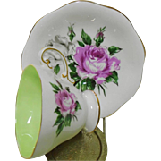 EB Foley Large Pink & White Rose tea cup and saucer