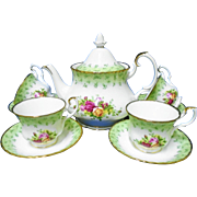 Royal Albert Old Country Roses tea pot, tea cup and saucer service for 4