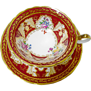 Cauldon Majestic red & gold cartouche tea cup and saucer