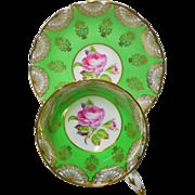 Paragon pink rose gold fan gilt green tea cup and saucer