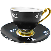 Shelley Ripon Black Gold White tea cup and saucer