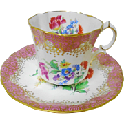 Hammersley Pink Tulip gold lace tea cup and saucer