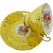 Adderley gold chintz dainty yellow tea cup and saucer