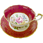 Paragon Pink rose center Maroon tea cup and saucer
