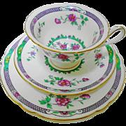 Shelley Gainsborough Pink rose Mauve tea cup and saucer trio