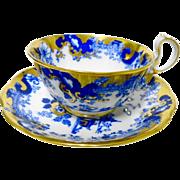 Royal Albert flow blue pagoda oriental tea cup and saucer