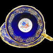 Aynsley Cobalt athens gold tea cup and saucer