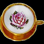 Taylor Kent Huge Pink rose GOLD tea cup and saucer