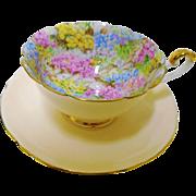 Shelley Boston Rock Garden peach tea cup and saucer