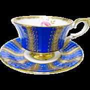 Paragon gold feathered Rose Cobalt tea cup and saucer