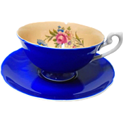 Shelley Lincoln Rose Cobalt tea cup and saucer