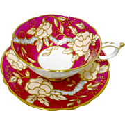 Paragon Wild Rose tree red tea cup and saucer