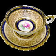 Paragon rose center peach Cobalt tea cup and saucer