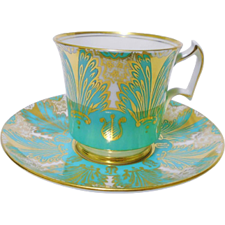 Royal Chelsea Exquisite gold turquoise tea cup and saucer