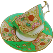 Cauldon china art deco green tea cup and saucer