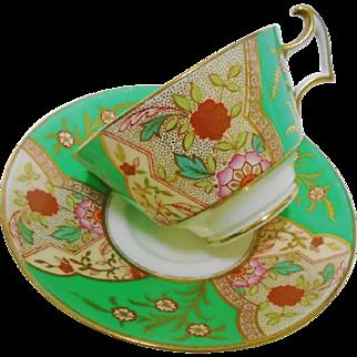 Cauldon china art deco green tea cup and saucer