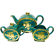 Sadler large tea pot set, cube top, golden flowers
