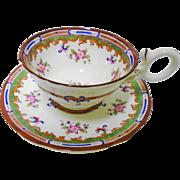 Coalport enamel flower Georgian handle tea cup and saucer