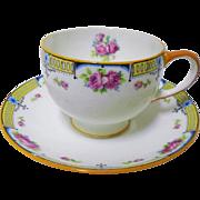Star Paragon art deco pink rose orange tea cup and saucer