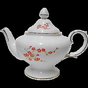 Crown Staffordshire Orange enamel blossom gold tea pot