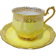 Royal Albert Luster iridescent Yellow tea cup and saucer