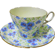Shelley Cambridge Blue pansy chintz tea cup and saucer