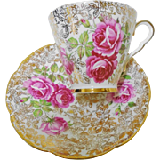 Collingwoods Large pink rose gold chintz tea cup and saucer